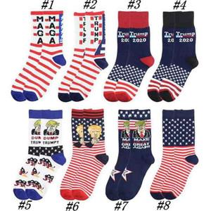 Adult President Middle MAGA Trump Letter Stockings Striped Stars US Flag Knit Sports Socks Stockings Hip Hop MAGA Sock ZZA2267 50Pcs