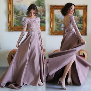 New African Purple A Line Evening Dresses Sexy Split Bateau Neck Prom Gowns Long Sleeves Lace Appliques Formal Dress on Sale
