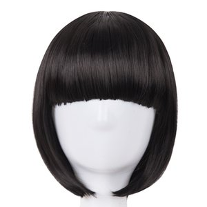Wholesale Short Hair Fei Show Synthetic Heat Resistant Fiber Black Bob Wig With Flat Bangs Modern Show Cosplay Halloween Carnival Wigs