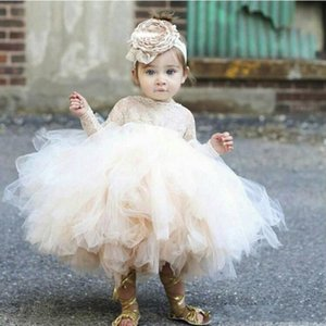 Wholesale Cheap Cute Cupcake Flower Girls Dresses Baby Infant Toddler Baptism Clothes Long Sleeves Lace Tutu Ball Gowns Birthday Party Dress