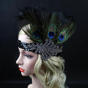 New 3 Peacock Feather Headbands with Sequins Inserted with Diamond Colored Feather Headbands with Indian Feather Headbands
