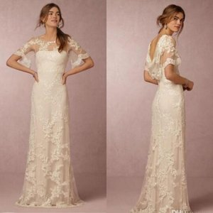 Wholesale 2020 Summer Bohemian Lace Wedding Dresses with Sleeves Bridal Gowns Cheap New Cowl Back Illusion Boatneck Sheath Country Beach Wedding Gowns