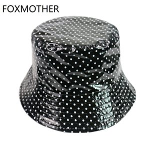 Wholesale FOXMOTHER New Black White Polka Dot Print Fisherman Caps Bucket Hats Women Ladies