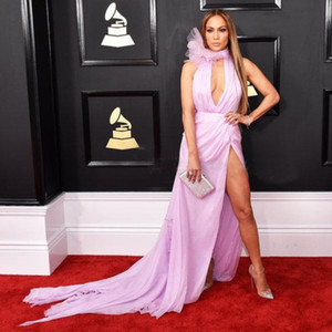 Celebrity Dresses Jennifer Lopez Deep V-Neck High Split Sexy Evening Dress 2019 Red Carpet Grammy Awards Party Wear on Sale