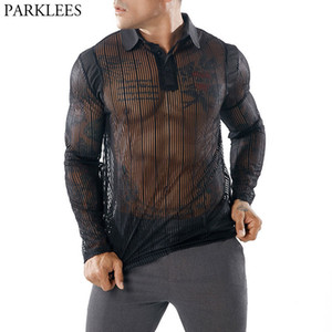 Wholesale Men s Sexy See through Transparent T Shirt Fashion New Long Sleeve Nightclub Wear Tshirt Men Party Prom Streetwear Tops Tee S19713