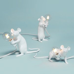 Wholesale Postmodern Resin Animal Rat Mouse Table Lamp Small Mini Mouse Cute Led Night Lights Home Decor Desk Lights Bedside Lamp