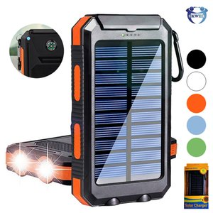 Wholesale 10000mAh Portable Power Bank Waterproof Outdoor Travel Solar Charging PowerBank USB External Battery For Smart Phones