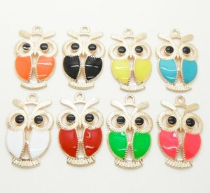 Wholesale Enamel Animal Owl Charms Pendants Fashion Jewelry Colors x19mm Fit Bracelets Necklace Earrings DIY Friendship Gift
