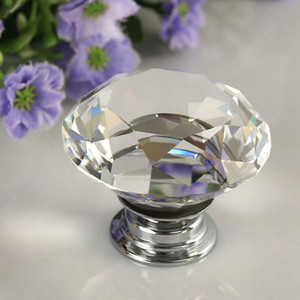40mm Diamond Crystal Drawer Pulls Knobs Glass Alloy Door Drawer Cabinet Wardrobe Pull Kitchen Cabinet Handle Knobs