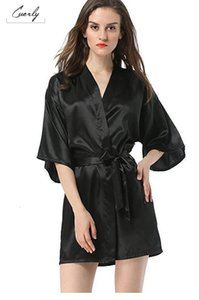 Wholesale Black New Sleepwear Faux Xxl Robe Bath Gown Hot Sale Kimono Yukata Bathrobe Solid Color M L Robes Xl Silk