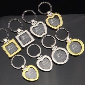 Mini Pendant Photo Frame Keychains Creative DIY Insert Photo Picture Frame Keychain Metal Heart Shape Keyring TTA1151