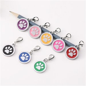 Wholesale Hot Sale Zinc Alloy Dog Tag Foot Prints Pet Collar Metal Tags Dropping Glue Label Claw ID Card shH1