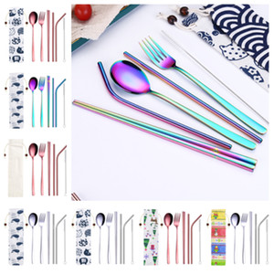 Wholesale hot Pieces Portable Dinnerware Straw Set Korean Cutlery Set Stainless Steel Tableware Set Kitchen Tools With Cloth bag T2I5219