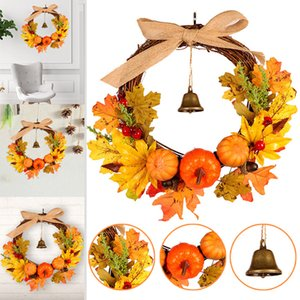 Wholesale Newly Autumn Leaf Pumpkin Wreath with Bell Thanksgiving Halloween Front Door Home Decor