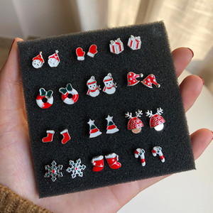 Wholesale 2019 Fashion jewelry Christmas sweet candy earrings snowman red gift box earrings mini S925 silver needle cute earrings