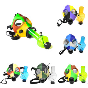 Wholesale Silicone Gas Mask Pipe Bong Include Acrylic Smoking Water Pipe Full Set Mix Colors Camouflage Mask Acrylic Bong