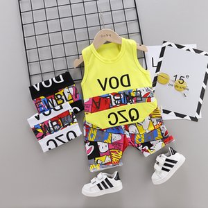 Wholesale Baby Girls boy Sleeveless Striped Clothes Kids Cotton Toddler Bow Tie T Shirt Pants set Baby Casual Track