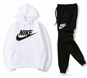 Nike Men Sportswear Hoodie And Sweatshirts Black White Autumn Winter Jogger Sporting Suit Mens Sweat Suits Tracksuits Set