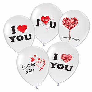 Wholesale letters balloons for sale - Group buy Durable Natural Latex Air Balloon Round Inches Airballoon Non Toxic English Letter I Love You Balloons For Valentine Day ay BB