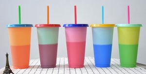 710ML Thermochromic Cup Plastic Color Change Mug Candy Colors Reusable Drinking Tumblers with Lid and Straw on Sale
