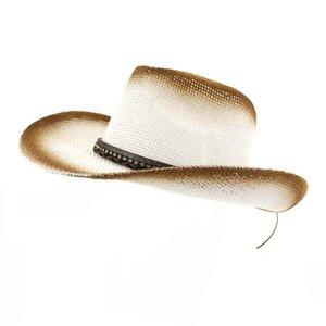19a5086840767 Summer Outdoor Seaside Sunshade Hat Unisex Women Brown Spray Paint Cowboy Straw  Hat Wide Brim Sun