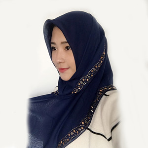 Wholesale 1pc High end Diamond Beads Lady Hijab Scarf Women Long Shawl Malaysia Dubai Solid Color Echarpe Cotton Muslim Wrap
