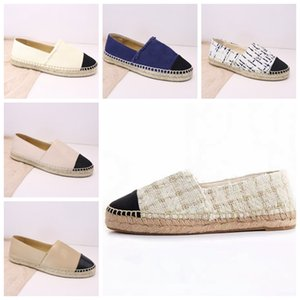 Wholesale Espadrilles Women Designer Casual Shoes Luxury Leather Slip On Platform Shoes Men Espadrilles Sandals With Box Size