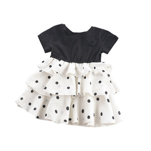 Wholesale Hot Design Girls Birthday Party Dress Summer Short Sleeve Black Top Polka Dots Ruffle Girls Dresses with bow