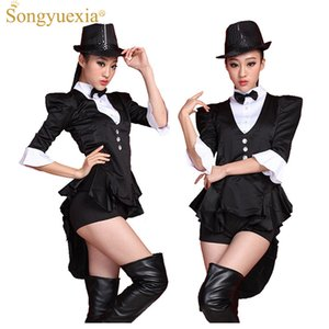 Wholesale 2017 Black Swallowtail Ds Stage Dress Broadway Magician costumes Bar Nightclub Start Dance Costume Show clothing