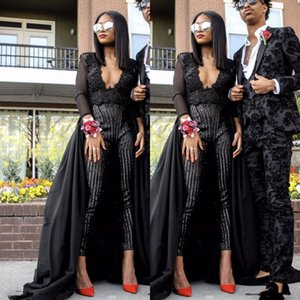 Wholesale 2020 African New Fashion Prom Gowns Jumpsuits V Neck Beading Pants Black Girl Evening Party Dresses Plus Size Vestidos De Fiesta