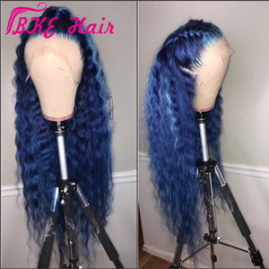 Fashion deep wave Lace Front Synthetic Wig celebrity style 360 lace frontal Long blue Wig for black women preplucked natural hairline