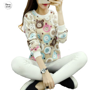Wholesale Sweaters Teddy Cute Bear Harajuku Christmas Women Fashion Winter Wool V Neck Pullover Cashmere Knitted Sweater Warm Flannel