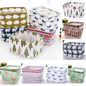 Wholesale DIY Storage Basket For Office Desktop Organize Folding Linen Toy Storage Box Pastoral Floral Animal Jewelry Makeup Organization HH9