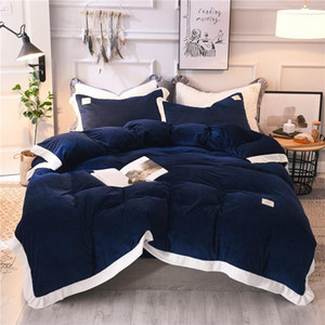 Wholesale pink white bedspread resale online - 42 Blue grey pink white Bedding Set Crystal velvet Bed Sheet Comforter Duvet Cover Bedspread Bedclothes Queen King Size Linens
