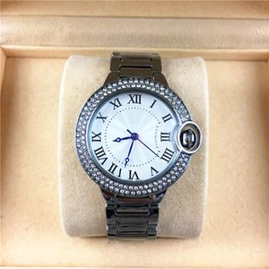 Wholesale Fashion Style Women man Watch Classic Silver Case Diamonds Steel Bracelet Chain Brand lover Watch High Quality Rhinestone free box Luxury