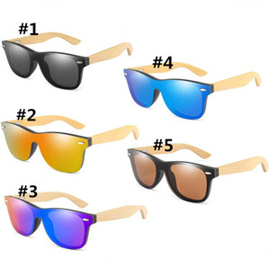 Wholesale Vintage Bamboo Sunglasses Shades Retro Wood Legs Polarized Sun Glasses Women Men Teenages Beach Outdoor Sports Colored Glasses A52903