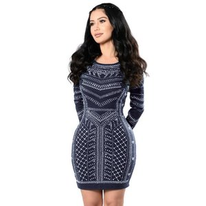 good quality Women Dresses 2019 Sexy Retro Long-Sleeved Bodycon Tight Dresses Fashion Party Dress Woman Clothing LJ7633Y