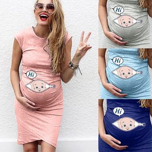 Wholesale 4styles cartoon Women s Maternity Dress Irregular sleeveless Pregnancy t shirt Print Dress Pregnant Women homewear clothing Dress FFA2900