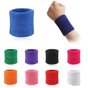Wholesale High Quality Cotton Sweat Wrist Band Bracers Sport Equipment Terry Cloth Support Protective Sweatbands Football Basketball Fitness JXW256