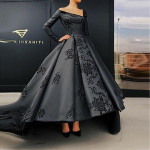2019 Black Vintage Long Sleeves Prom Evening Dresses Ball Gown V Neck Embroidery Appliques High Low Occasion Party Gowns Quinceanera Wear on Sale