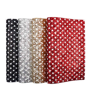 Wholesale 22 CM Glitter Leather Fabric White Dots Printed Chunky Sheet For DIY Gifts Bags Patchwork Crafts Home Decorative Materials