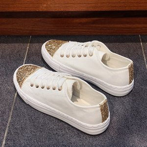 Wholesale Bling Sequins Women Canvas Shoes spring Flats Women Vulcanized Shoes Female Platform Casual Black White Sneakers B107