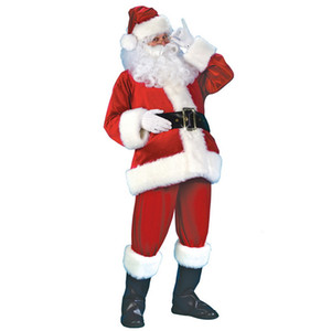 7PCs Adult Santa Claus Costume Flannel Classic Suit Christmas Cosplay Props Men Coat Pants Beard Belt Hat Christmas Set M XL