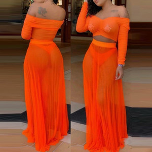 Women Sexy Sheer Mesh Two Piece Set Summer Pleated Off Shoulder Long Sleeve Crop Top + Maxi Skirts Beach Clubwear Matching Sets on Sale