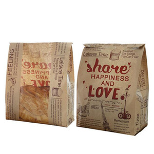 Wholesale Kraft Bread Paper Bag With Window Avoid Oil Love Toast Baking Paper Bag Takeaway Food Hand Made Package Bags ZC0370