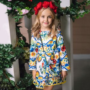 Wholesale Princess Girls Dress Long Sleeve Autumn Brand Children Christmas Dress with Bag Printed Kids Dresses for Girls Clothing