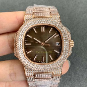 vidrios de los hombres al por mayor-Brown Dial Full Diamond Luxury Men s Watch Reloj de pulsera automática Zapphire Glass Calendario Impermeable Acero inoxidable Diámetro mm