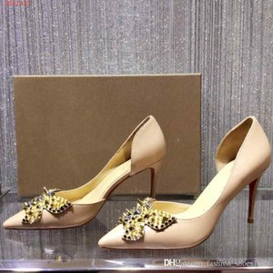 Wholesale Spring and summer shallow mouth high heels women shoes French Rivet butterfly stiletto hollow sandals Woman high heels
