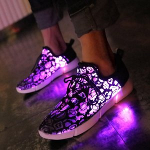 kashiluo EU#25-47 Led Shoes USB chargeable glowing Sneakers Fiber Optic White shoes for girls boys men women party wedding shoes SH190916 on Sale