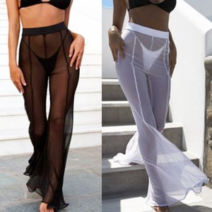 2018 Summer Bikini Bottom Cover Up Women's Pants Long Loose Chiffon Pants Drawstring Elastic Perspective Swimsuit Trousers